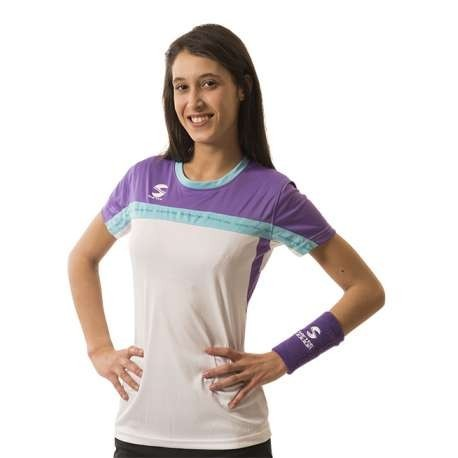 CAMISETA PADEL SOFTEE CLUB MUJER - TALLA XL - COLOR BLANCO, VIOLETA Y VERDE