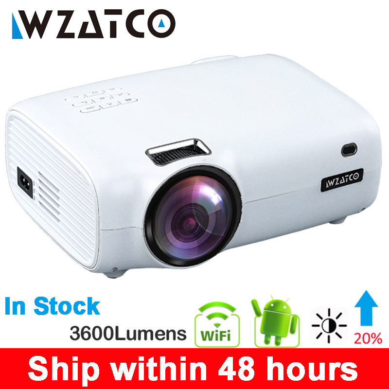 WZATCO E600 Android 9.0 Wifi Smart Portable Mini LED Projector HDMI Support Full HD 1080p 4K Video Home Theater Beamer Proyector(China)
