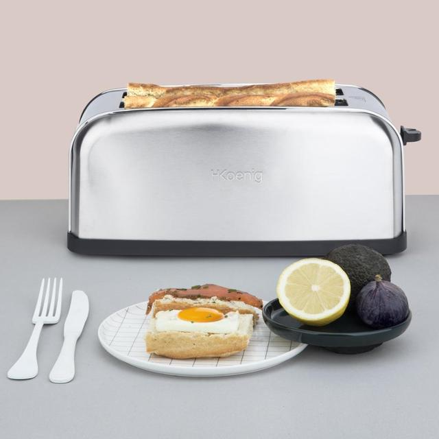 H. koenig Baguettes Toaster Pan 2 Slots Long and Wide, length 4 Slices, 1500 W, 3 Functions, 7 Levels roasting, Steel 6