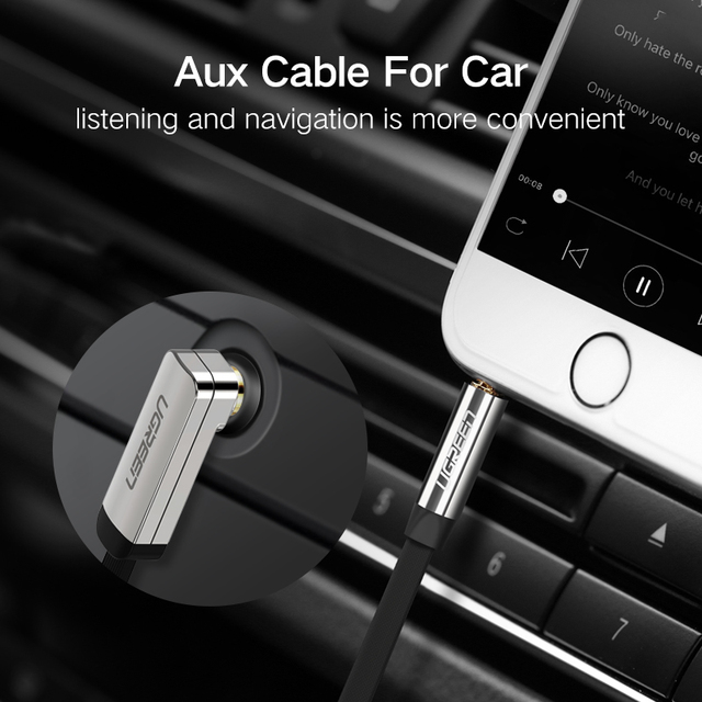 UGREEN 3.5mm Audio Cable Stereo Aux Jack to Jack Cable 90 Degree Right Angle Auxiliary Cord Male to Male For PC Speaker Cable 3