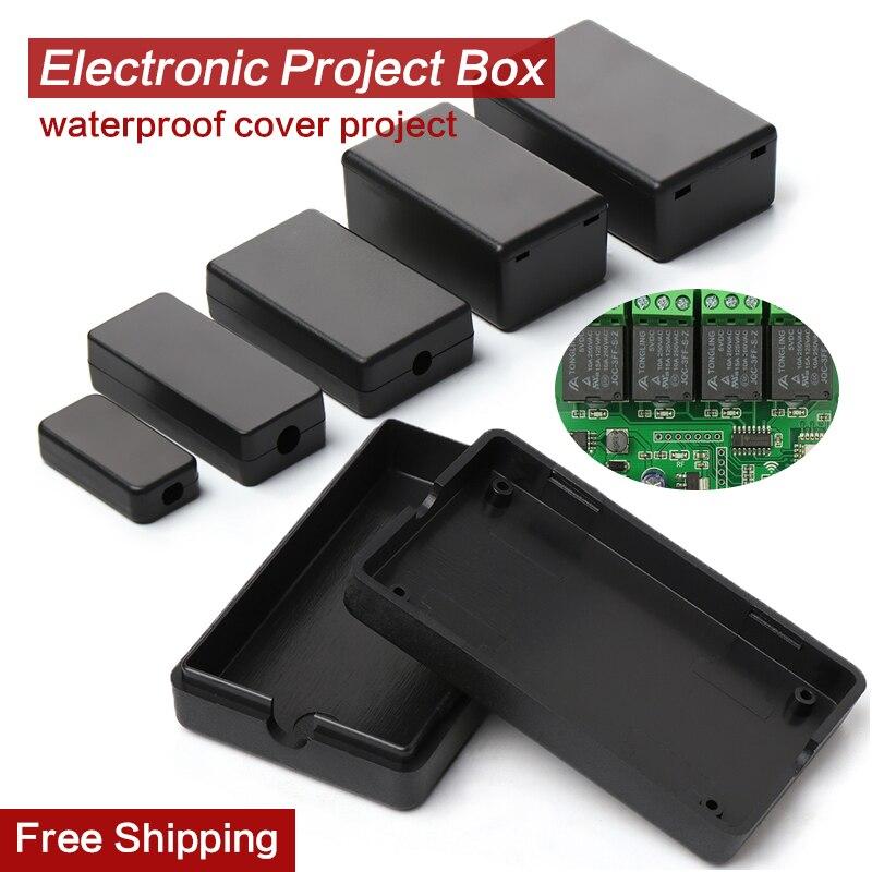 2 pçs preto à prova ddiy água gabinete diy caixa de instrumentos de habitação caso de plástico projeto caixa de armazenamento caixas de suprimentos eletrônicos 21 tamanhos