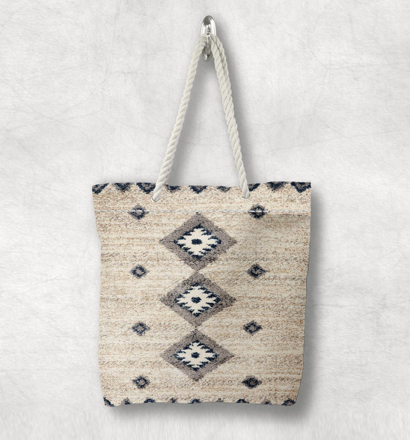 Else Beige Gray Antique Anatolia Turkish Kilim Design White Rope Handle Canvas Bag Cotton Canvas Zippered Tote Bag Shoulder Bag