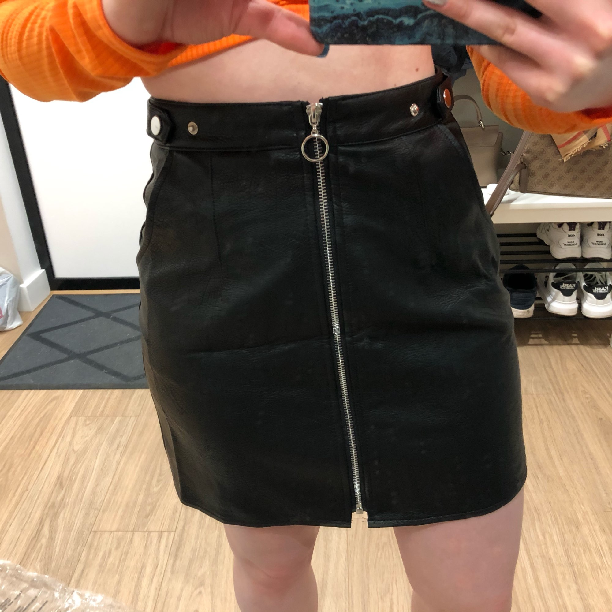 2020 early spring European and American style women's new wholesale high waist pocket zipper PU leather skirt high quality|Skirts|   - AliExpress