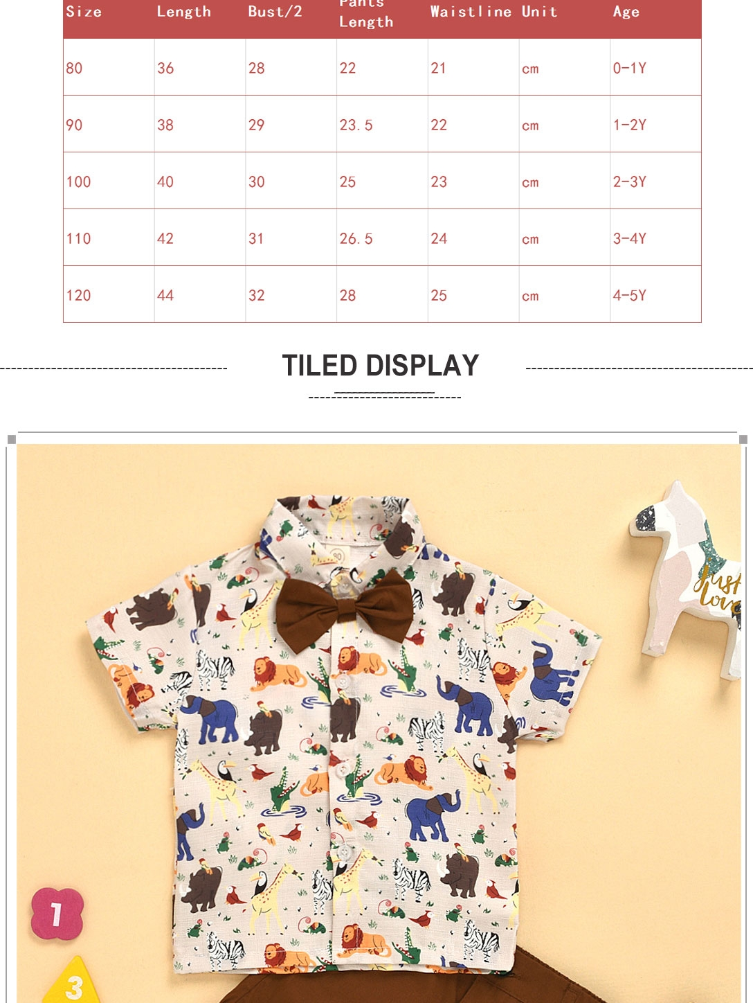 Kids Animal pattern Shirt Toddler Boys Button-Down Bow Tie T-Shirts Summer Cotton Short Sleeve Clothes