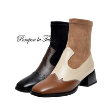 купить BHS 9011232 Chic Genuine Cow Leather Elegant Patchwork 5CM Chunky Heel Stilettos Round Toe Ladies Mid Calf Fashion Women Boots дешево