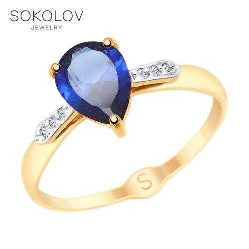 SOKOLOV Ring Gold With Blue Corundum (synthetic) And Cubic Zirkonia Fashion Jewelry 585 Women's Male
