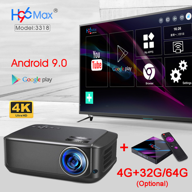 WZATCO T59 4k Projector Full HD Native 1080P Android 9.0 2