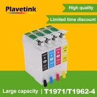 Plavetink T1971 حبر قابل لإعادة التعبئة خرطوشة إبسون T1961 T1951 XL التعبير XP 101 201 211 401 204 104 214 411 WF-2532 الطابعات