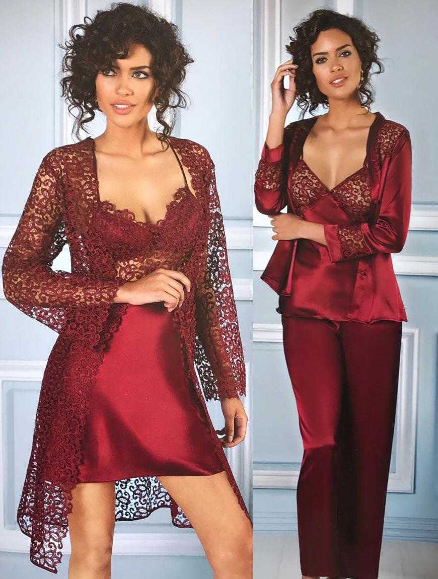 Women Silk Satin Ruched Evde Wearable Comfortable Soft Women Pajamas Set Inside 6 Parça Found In Sizes S M L XL 6125