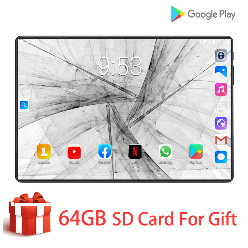 2020 New Tablet Pc 10.1 Inch Android 9.0 Tablets 6GB+128GB HD 1280*800 IPS 4G LTE Phone Call Tablet WiFi GPS 10 Inch Tablets