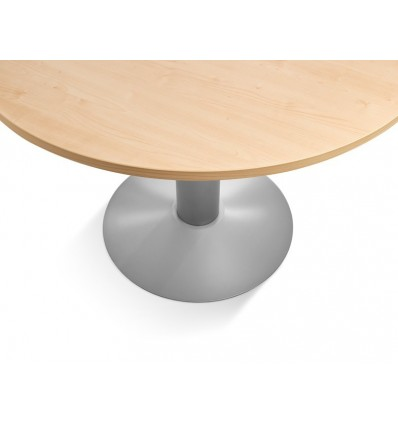 MEETING TABLE ROUND 120CM IN DIAMETER HEIGHT 72CM COLOR: PAW METAL WHITE/BOARD CRYSTAL