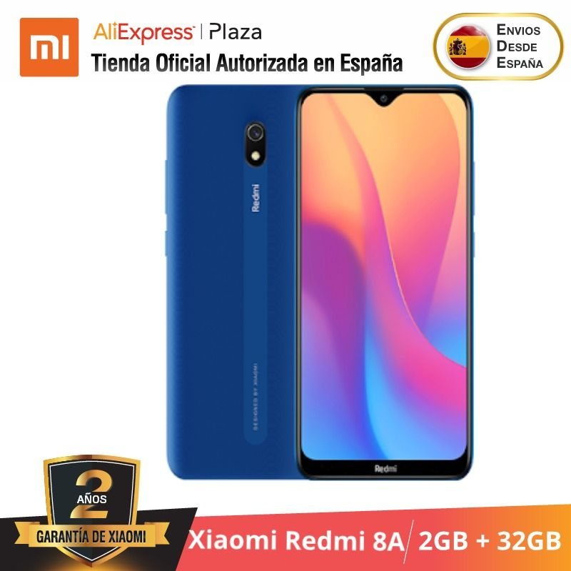 Xiaomi Redmi 8A (32GB ROM Con 2GB RAM, 5000 Mah Batería, Android, Nuevo, Móvil) [Teléfono Móvil Versión Global Para España]