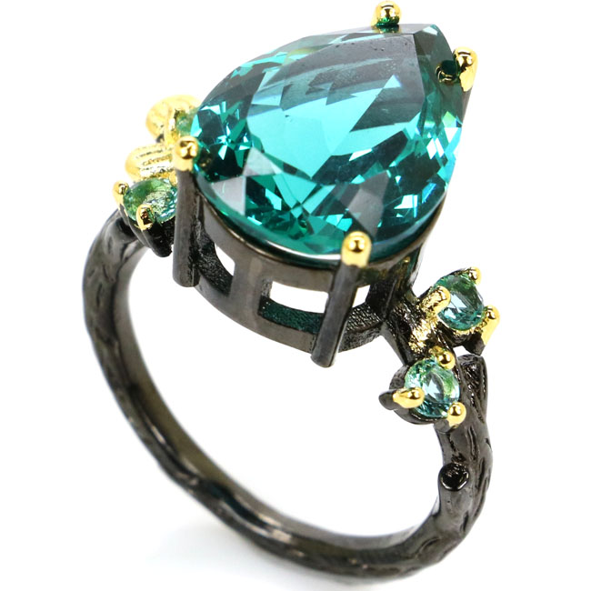 8 0 Sublime Antique Drop Rich Blue Aquamarine Gift Black Gold Silver Ring 24x16mm in Engagement Rings from Jewelry Accessories