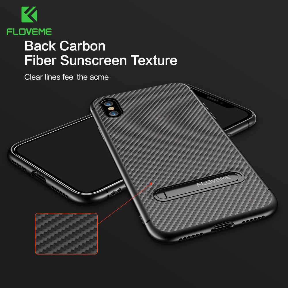 Floveme Klasik Carbon Fiber Case untuk iPhone 7 Cover 8 8 PLUS 6S 7Plus 6Plus 6S plus Coque Kickstand Case untuk Iphone 6 7 Fundas