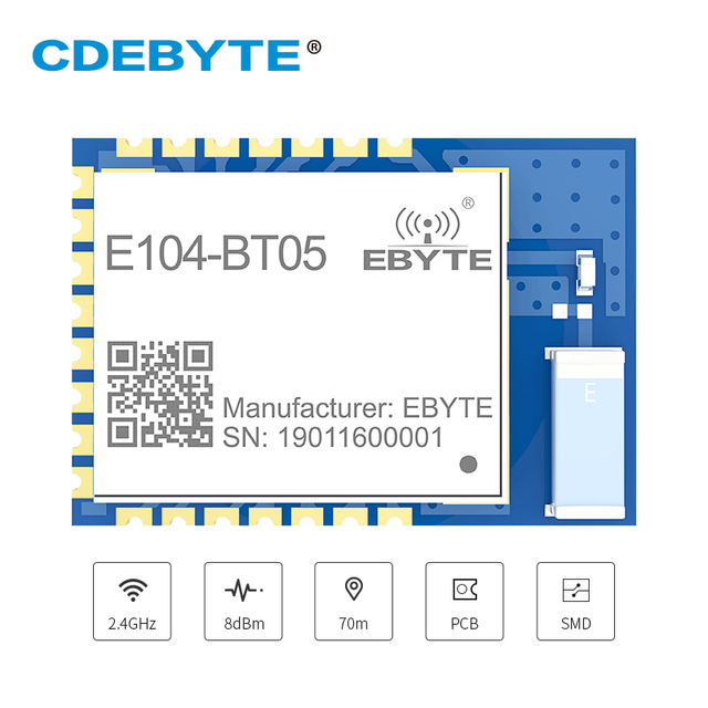 TLSR8266 Bluetooth BLE4.2 UART SMD Transceiver E104 BT05 70m Slave Transparent Transmission Low Power Wireless Module
