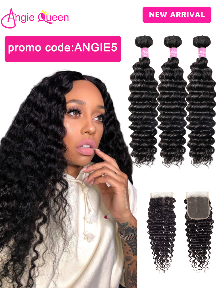 Deep-Wave-Bundles Closure Brazilian Remy with Wet And 18-20-22 24-26