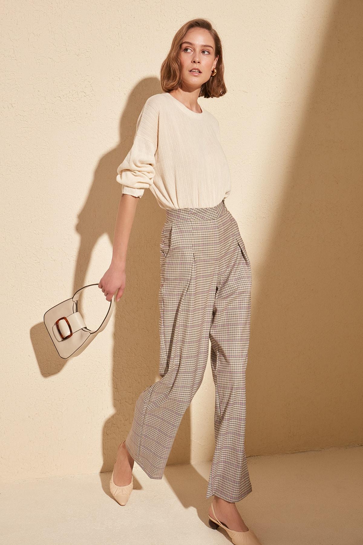 Trendyol Plaid Pants TWOSS20PL0018