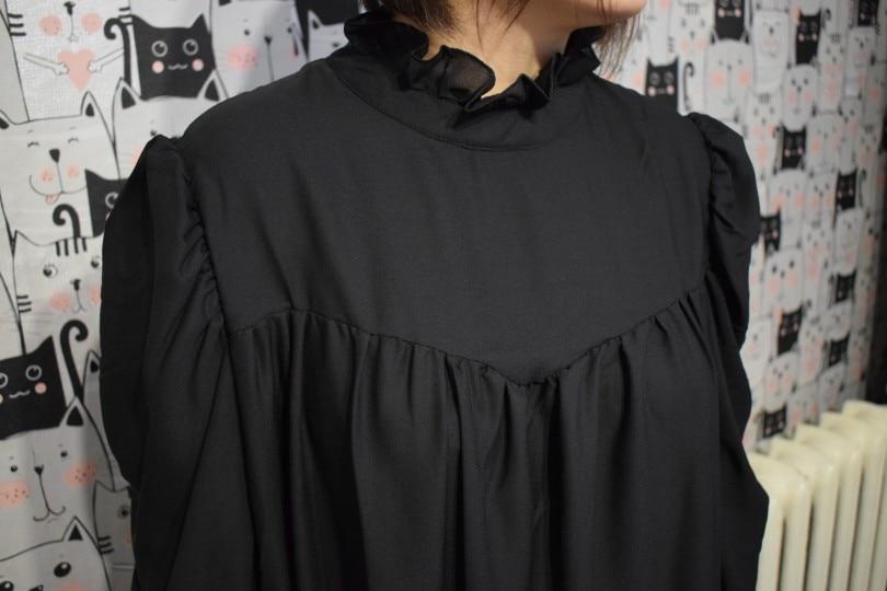 Hot 2019 autumn new fashion women's temperament commuter puff sleeve small high collar natural A word knee Chiffon dress reviews №5 342815