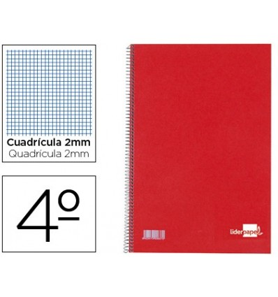 SPIRAL NOTEBOOK LIDERPAPEL HARDCOVER RED BATHROOM 80H RC 04 MILIMETRADO 10 Units