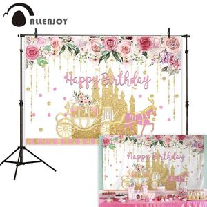 Image 2 - Allenjoy Golden Castle Princess Backdrop Pumpkin Carriage Flower Birthday Background Photo Zone Photoshoot Prop Banner