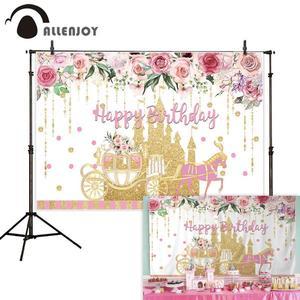 Image 2 - Allenjoy黄金城王女背景カボチャの馬車花誕生日背景写真ゾーン写真撮影小道具バナー