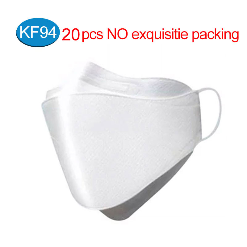 20Pcs 마스크kf94 Mask KF94 Face Mask 4 Layer Anti Dust Bacterial PM2.5 Protective Mask 94% Filtration Breathable Mouth Muffle Cover