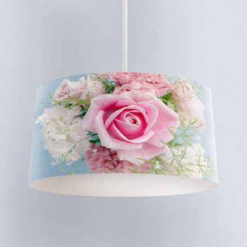 Else Blue Floor on Pink Roses Flowers Digital Printed Fabric Chandelier Lamp Drum Lampshade Floor Ceiling Pendant Light Shade