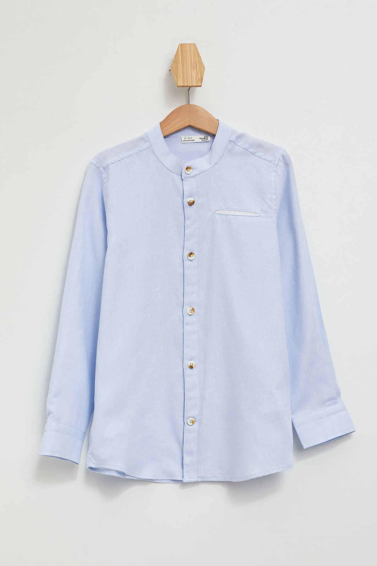 DeFacto אופנה ילד O-צוואר ארוך שרוול חולצה ילדים מקרית באיכות גבוהה חולצות בני נוחות טהור צבע Blousers סתיו-K9452A619AU