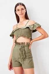 Trendyol Nappe Crop Magliette E Camicette Shorts Fondo/Top Abiti TBESS19AU0008