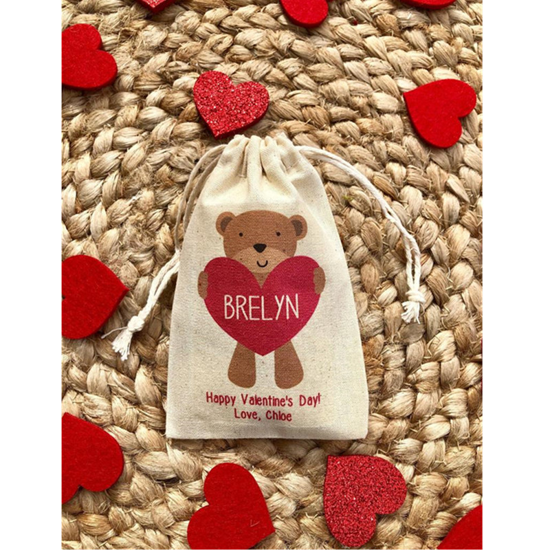 Kid's Valentine's Day Party Favor Bag Personalized Bear Party Cotton Treat BagsValentine Welcome Bags Birthday Drawstring Bag
