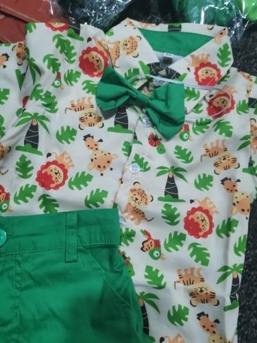 2Pcs Toddler Kids Baby Boy Gentleman Formal Suit Lions Tee Shirt Short Pants Formal Costume Children Boy Clothing photo review