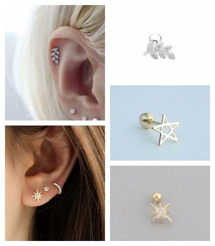 925 Sterling Silver Thread European And American Fashion Leaves Crystal Star Flower Stud Earring Ear Bone Nail Cochlea Earrings