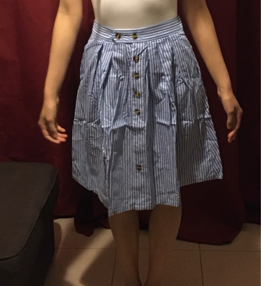 Striped A Line Blue Single Breasted Skirt Women Spring Summer Casual High Waist Knee Length Skirts Cute Ladies Skirt Femme photo review