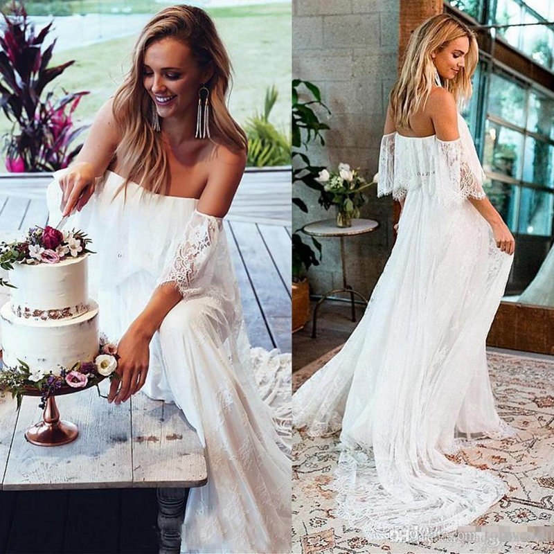 Off Shoulder Lace Fabric Flare Sleeve A Line Beach Wedding Dress Bridal Gown
