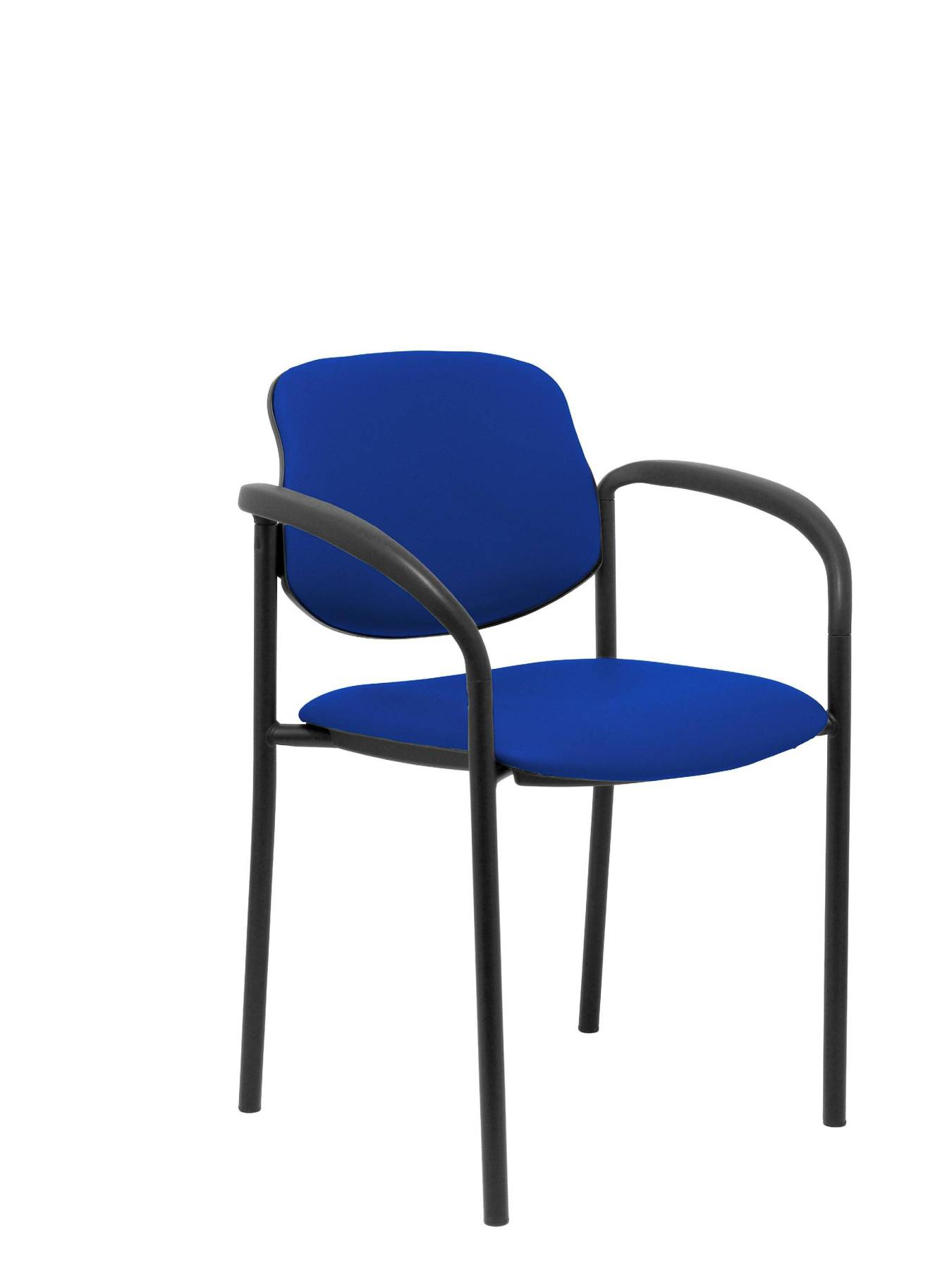Visitor Chair 4's Topsy, With Arms And Estructrua Negro-up Seat And Backstop Upholstered In Tissue Similpiel Blue PIQUE