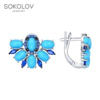 SOKOLOV Silver drop earrings with stones with turquoise and cubic zirconia fashion jewelry silver 925 women's male, long earrings
