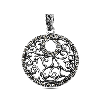 Silver 925 Sterling Marcasite Pendant