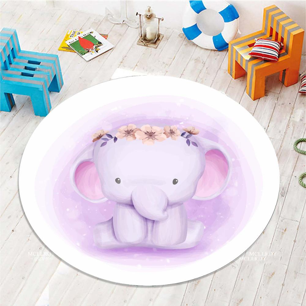 Else Purple Little Cute Elephant Flower 3d Pattern Print Anti Slip Back Round Carpets Area Round Rug For Kids Baby Children Room