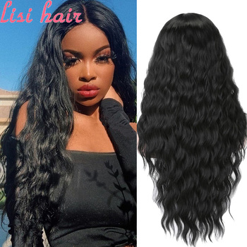 LISI HAIR Pure Red Black Color Long Water Wave Hairstyle Wigs For Women Synthetic Hair High Temperature Fiber Average Size - discount item  10% OFF Synthetic Hair