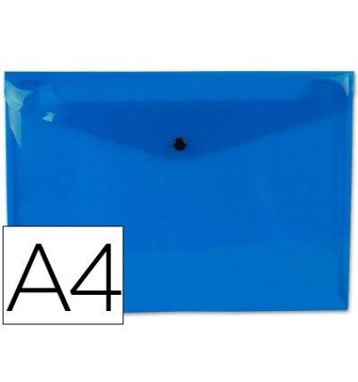 WALLET LEADERPAPER DOSSIER BROOCH 44052 POLYPROPYLENE DIN A4 TRANSPARENT BLUE 50 SHEETS 12 Pcs