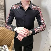 Moda Splice çiçek gömlek baskı adam Camisa Masculina bahar yeni desen uzun kollu Slim Fit gömlek gece kulübü Chemise Homme