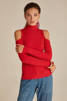 Joinus Knitted Jumper With Cold Shoulder Detail Woman Red strappy open shoulder jumper