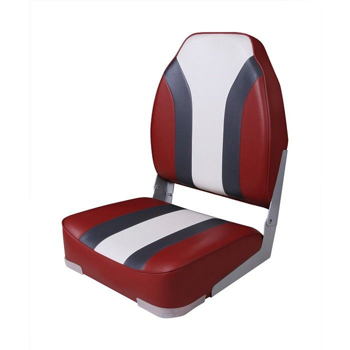 Folding Chair Soft High Back Rainbow Boat Seat, Red/white 75107rcw
