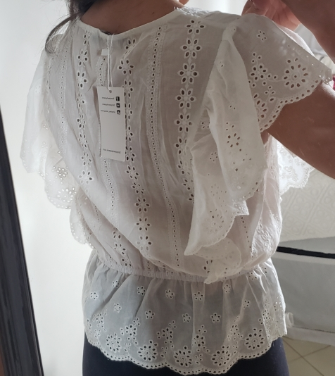 Sexy V Neck Summer Blouse Women Elegant Ruffle High Waist Embroidery Cotton Shirt Fashion White Blouse Ladies Tops photo review