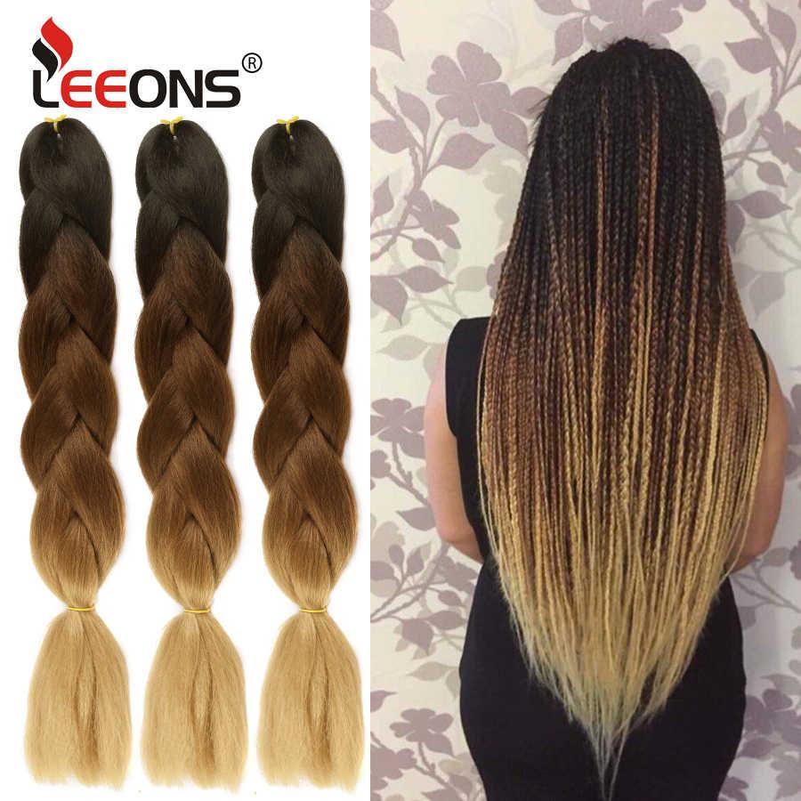 Leeons Günstige Und Beliebte 24 Zoll Jumbo Lange Häkeln Braid Haar Ombre Lila Blonde Grün Rot Blau Grau Xpression Haar erweiterung