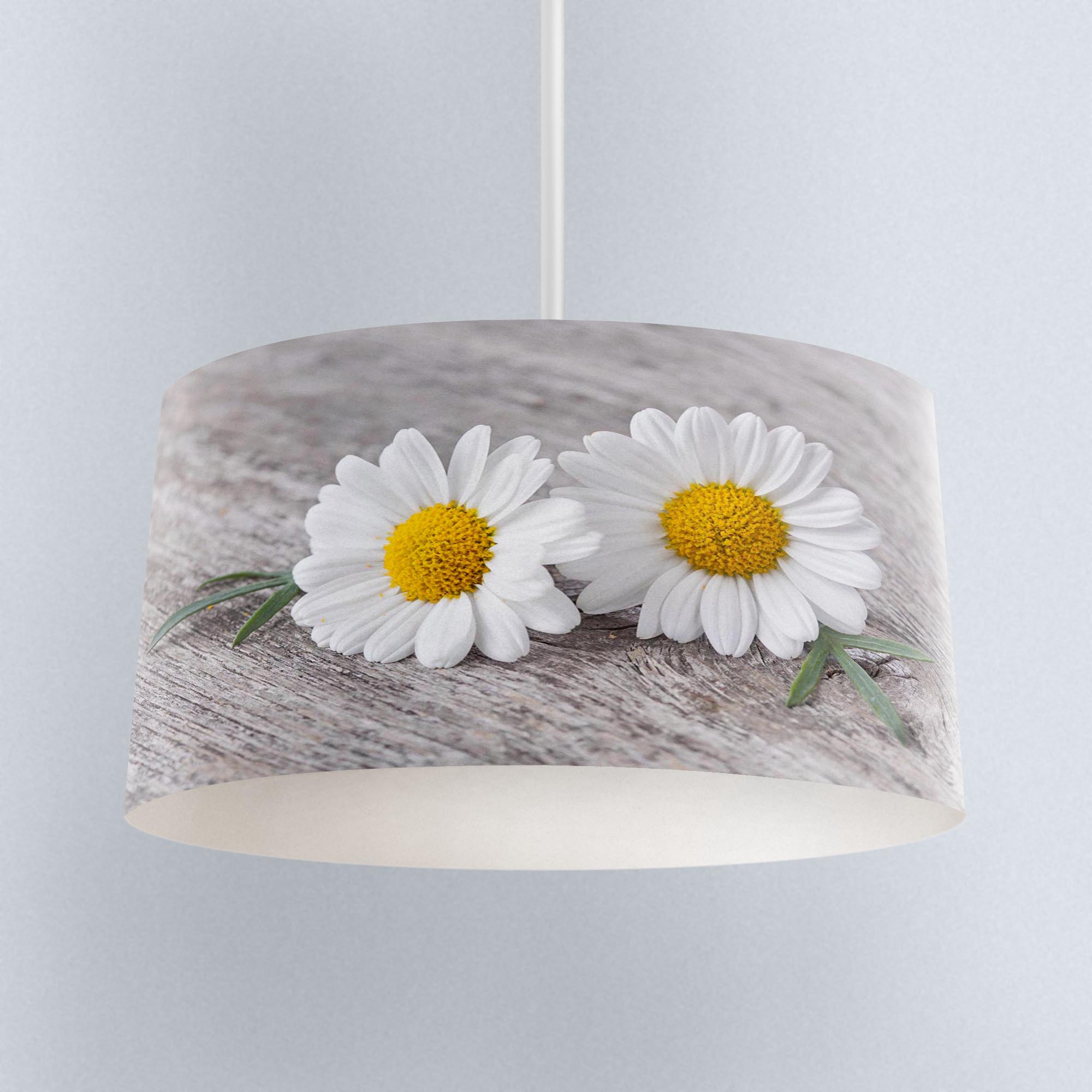 Else Gray Yellow White Daisy Flowers Digital Printed Fabric Chandelier Lamp Drum Lampshade Floor Ceiling Pendant Light Shade
