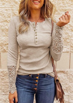 Lace Hollow Out Solid Woman Top Tee Buttons O-Neck Long Sleeve T Shirts for Women New Casual Undershirt Female Tops