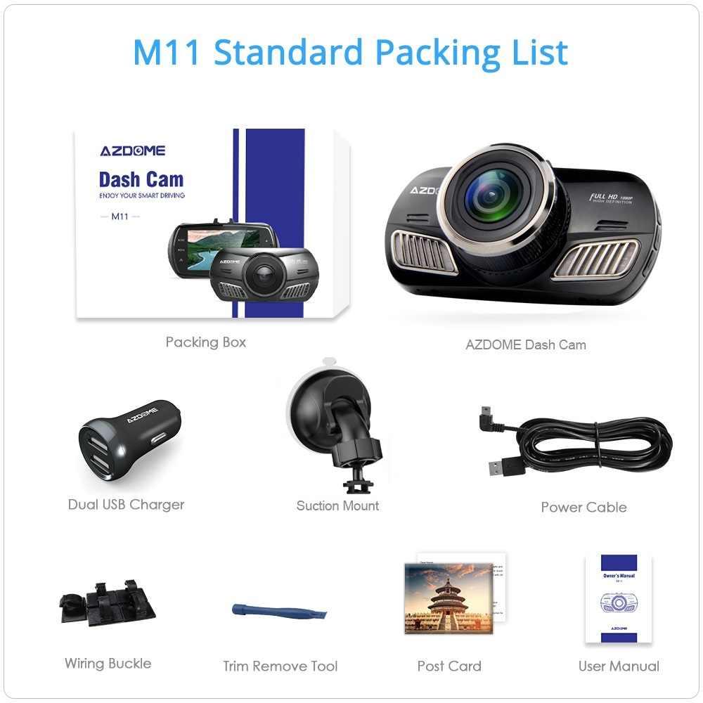 AZDOME M11 DVR 24H moniteur de stationnement caméra de voiture Mini Dashcam double lentille Vision nocturne 1080P rétroviseur tableau de bord caméra Support GPS Original