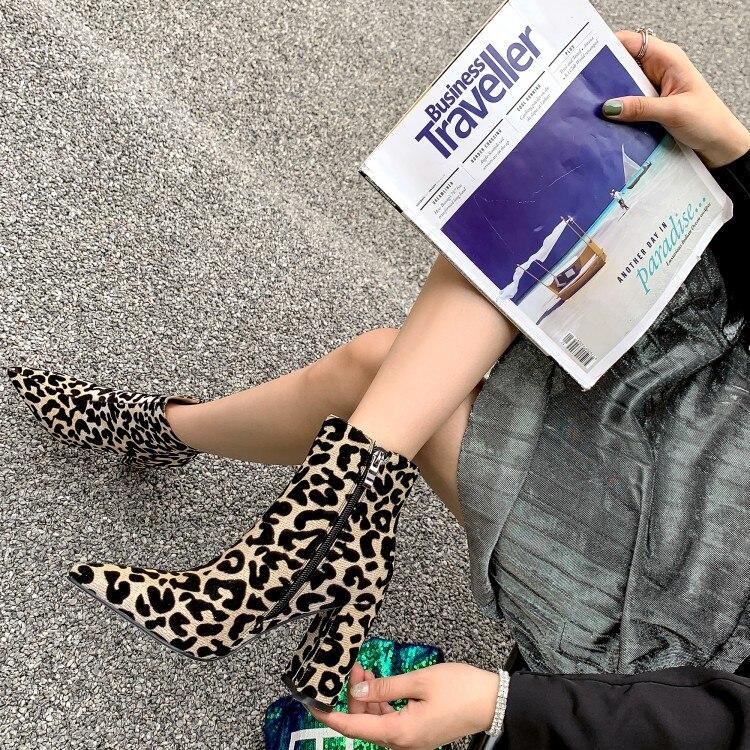 Léopard Zip épais bout pointu talons hauts bottes femme chaussures de neige mode classique Sexy bottine chaussures d'hiver femme dame - 4