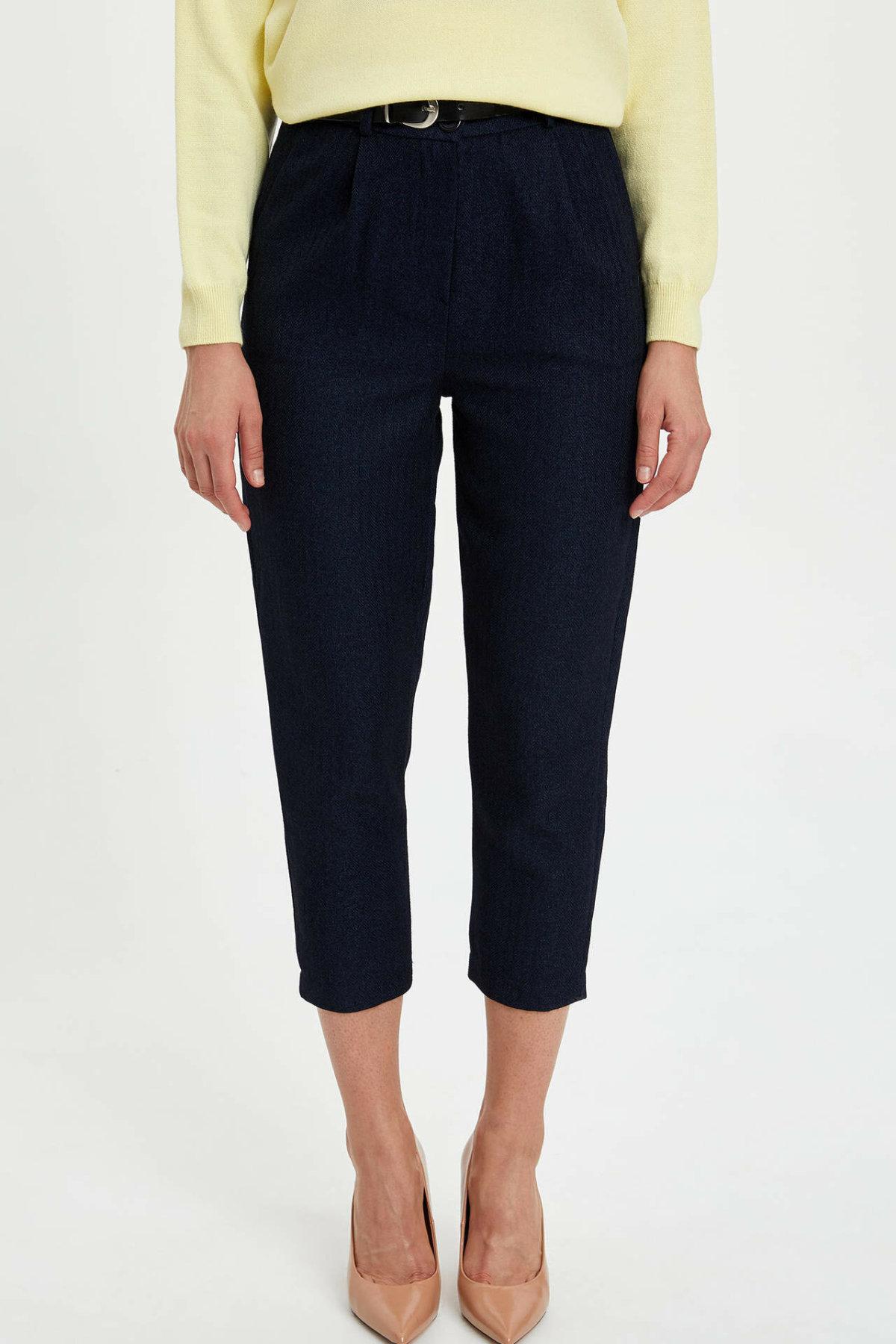 DeFacto New Woman Fashion Trousers Female Casual Crop Pants Ladies Comfort Turnip Pants High Quality Blue-M8432AZ19AU